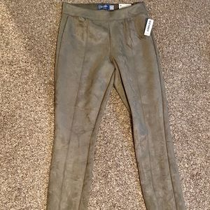 Suede Olive Green Pants